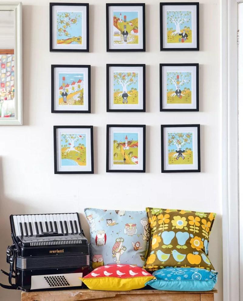 Hallway framed artwork display