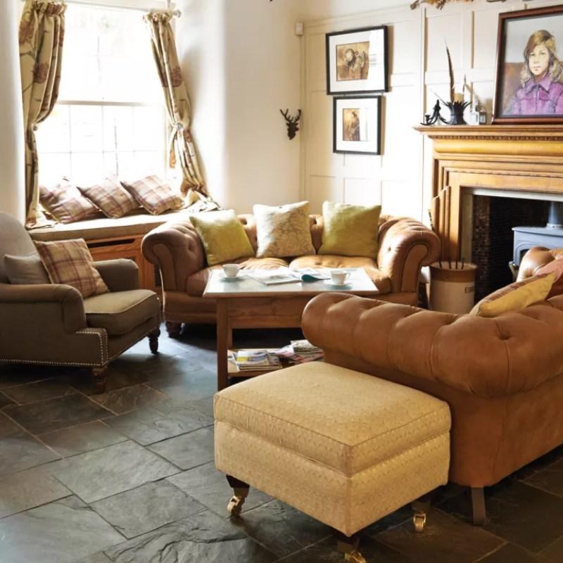 burnt sienna slate floor tiles in a living room - Original Style