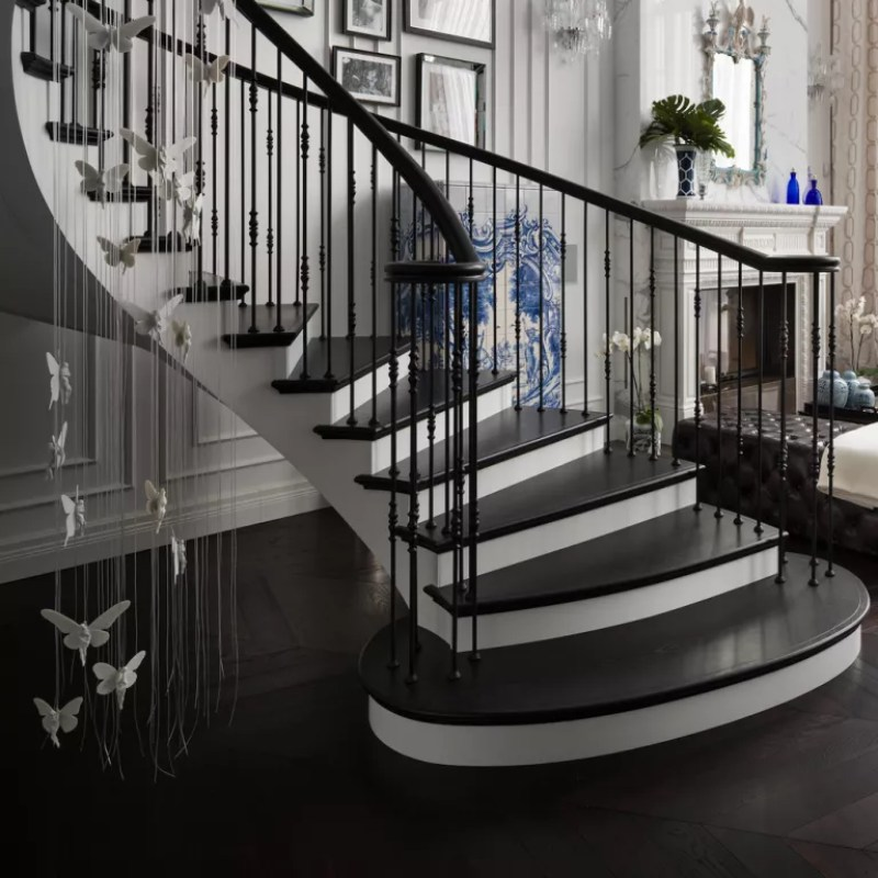 lighting installation over hallway and staircase in an open plan living area - boco do lobo