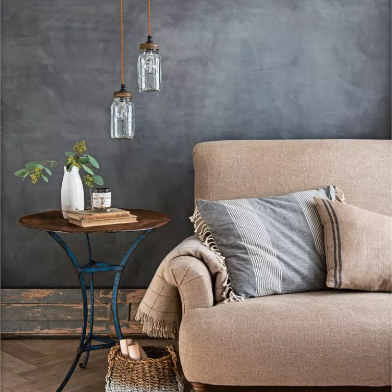 natural cotton linen sofa with charcoal walls and jars for lights - Polly Eltes