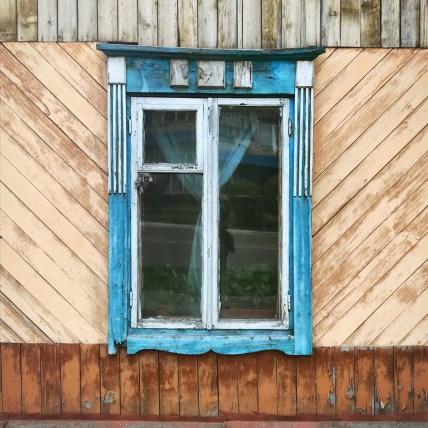 Sibirien Holzhaus Fenster diagonale
