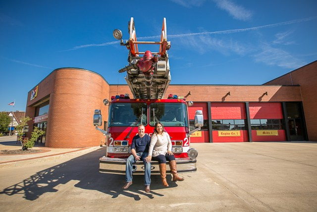 Aurora Illinois Engagement Session with Firetrucks