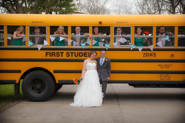 School bus as wedding transportation