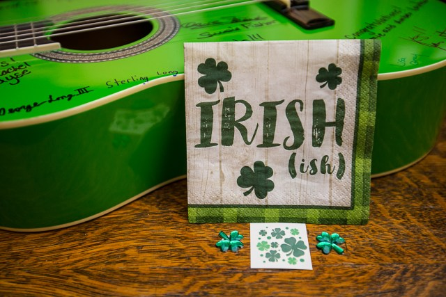 green sign in guitar. St patricks day napkins stickers and tattoos
