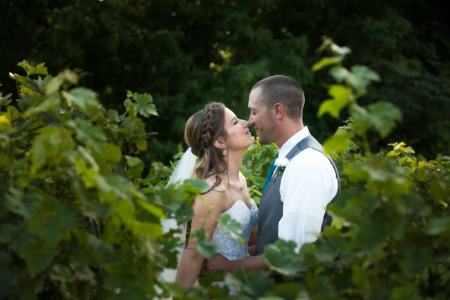 bride and groom in the vineyard
