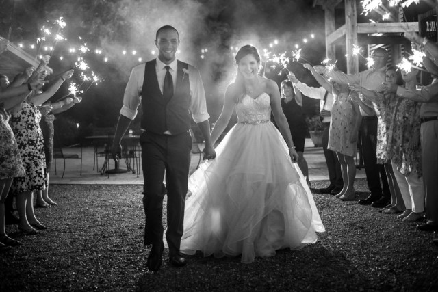 black and white sparkler exit