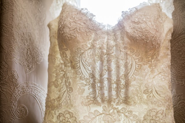 details of  lace wedding dress