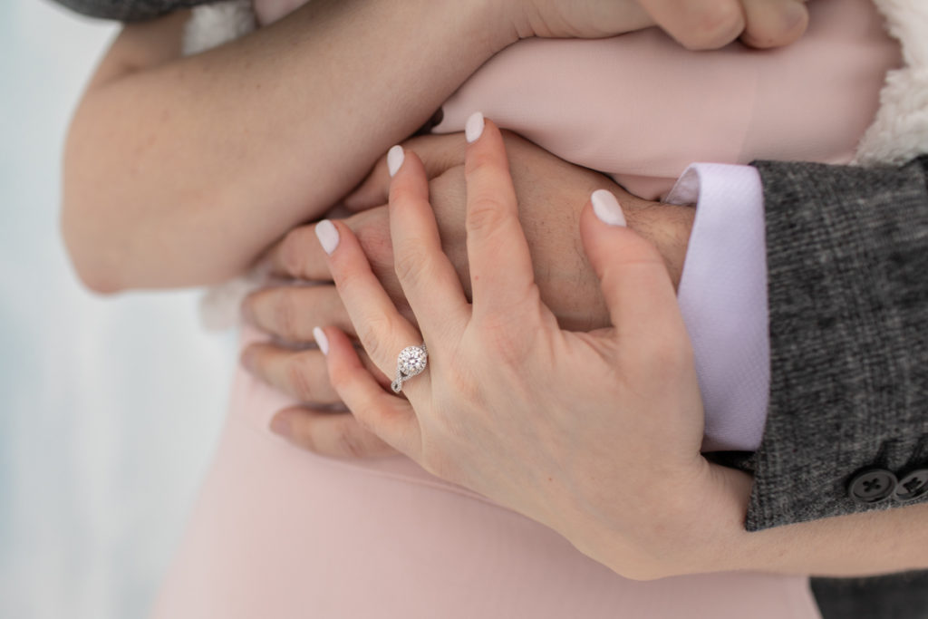 engagement ring hands wrapped together, excelsior engagement photographer