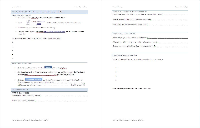 Worksheet Finding And Using Keywords