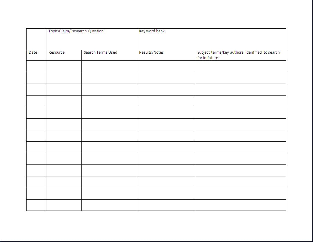 Worksheet Research Log