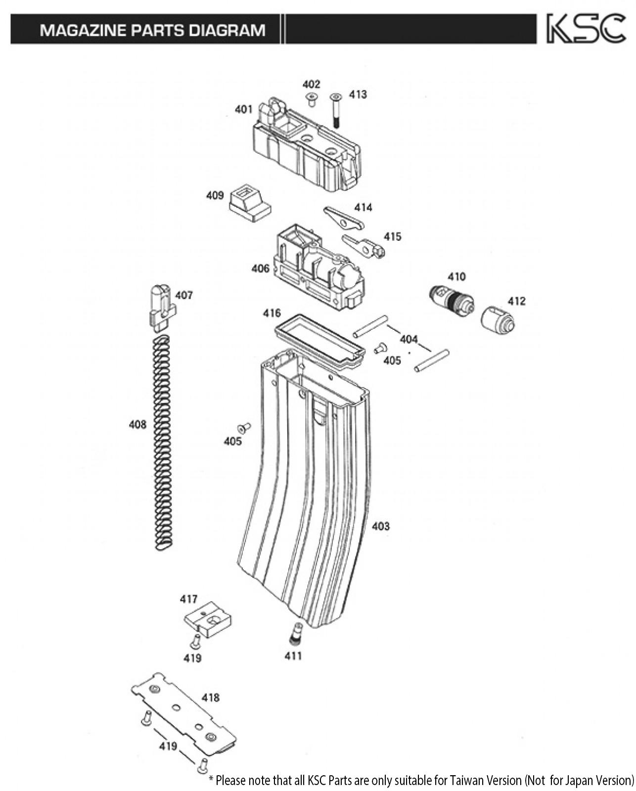 Exploded Diagram Ksc M4a1 Magazine  Ver 1   U2013 Ksc Part  U2013 Original  Worldwide Shipping