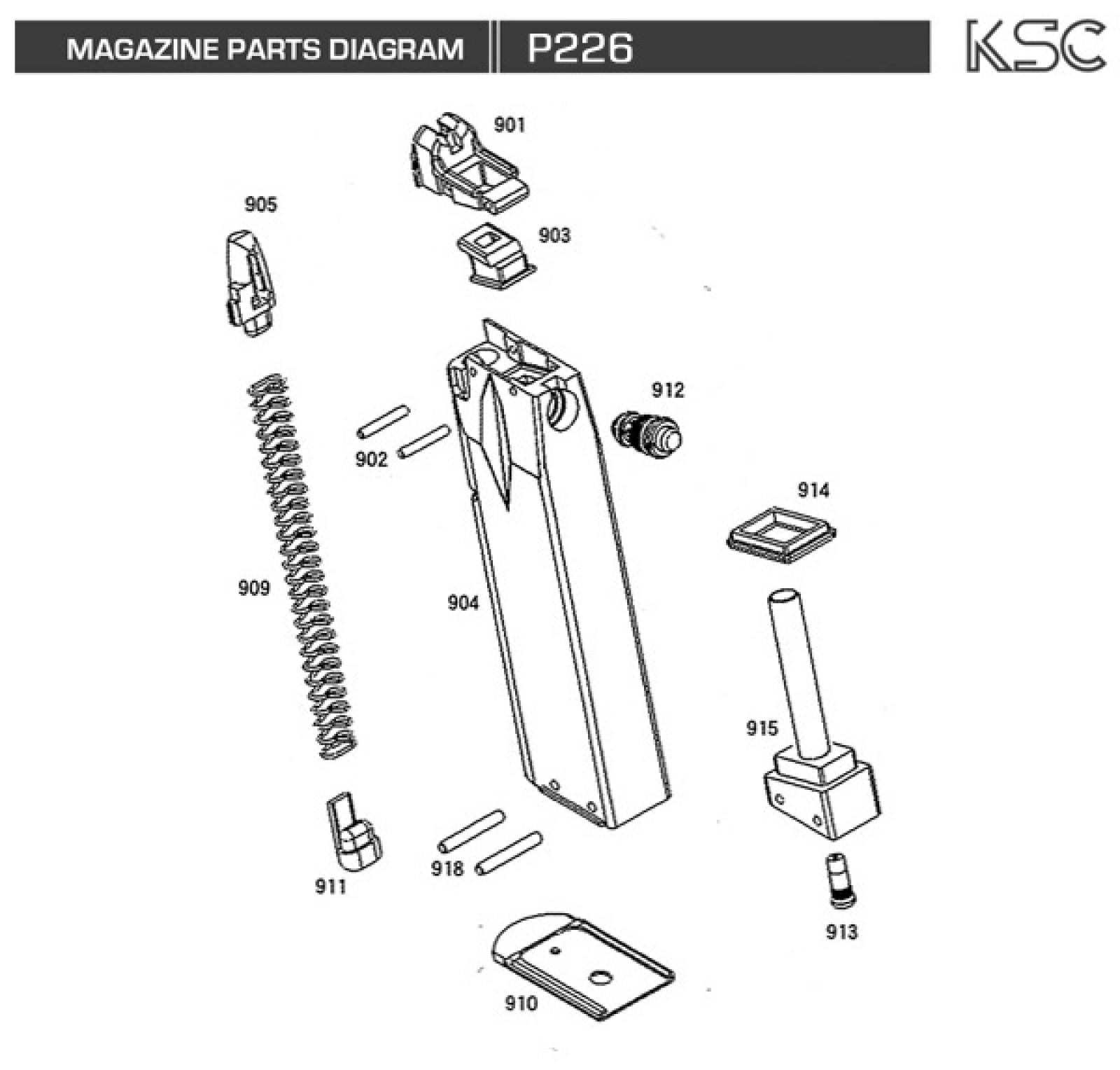 Exploded Diagram Ksc P226 Ksc Part Original Worldwide Shipping