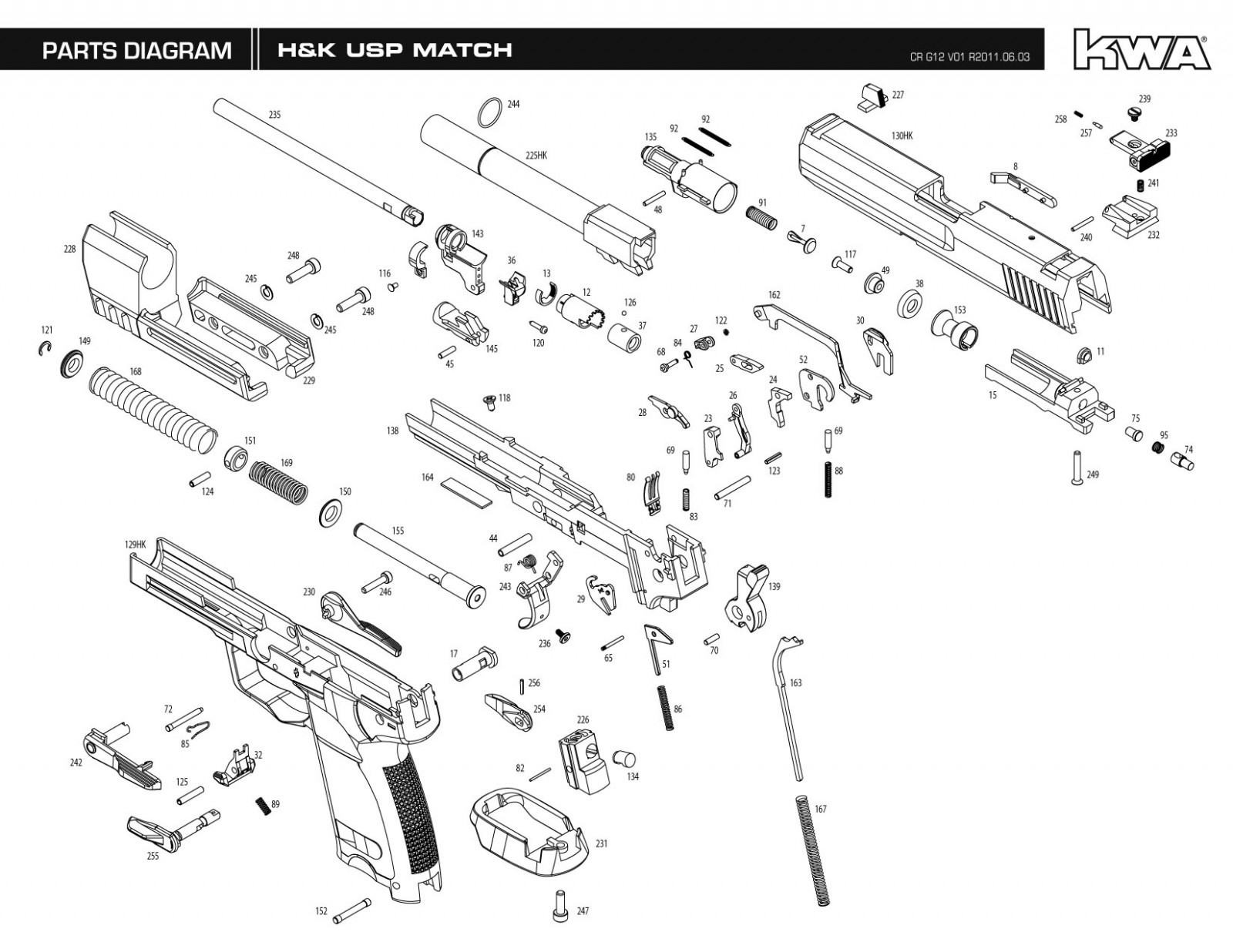 KWA/Umarex USP Match Exploded Diagram