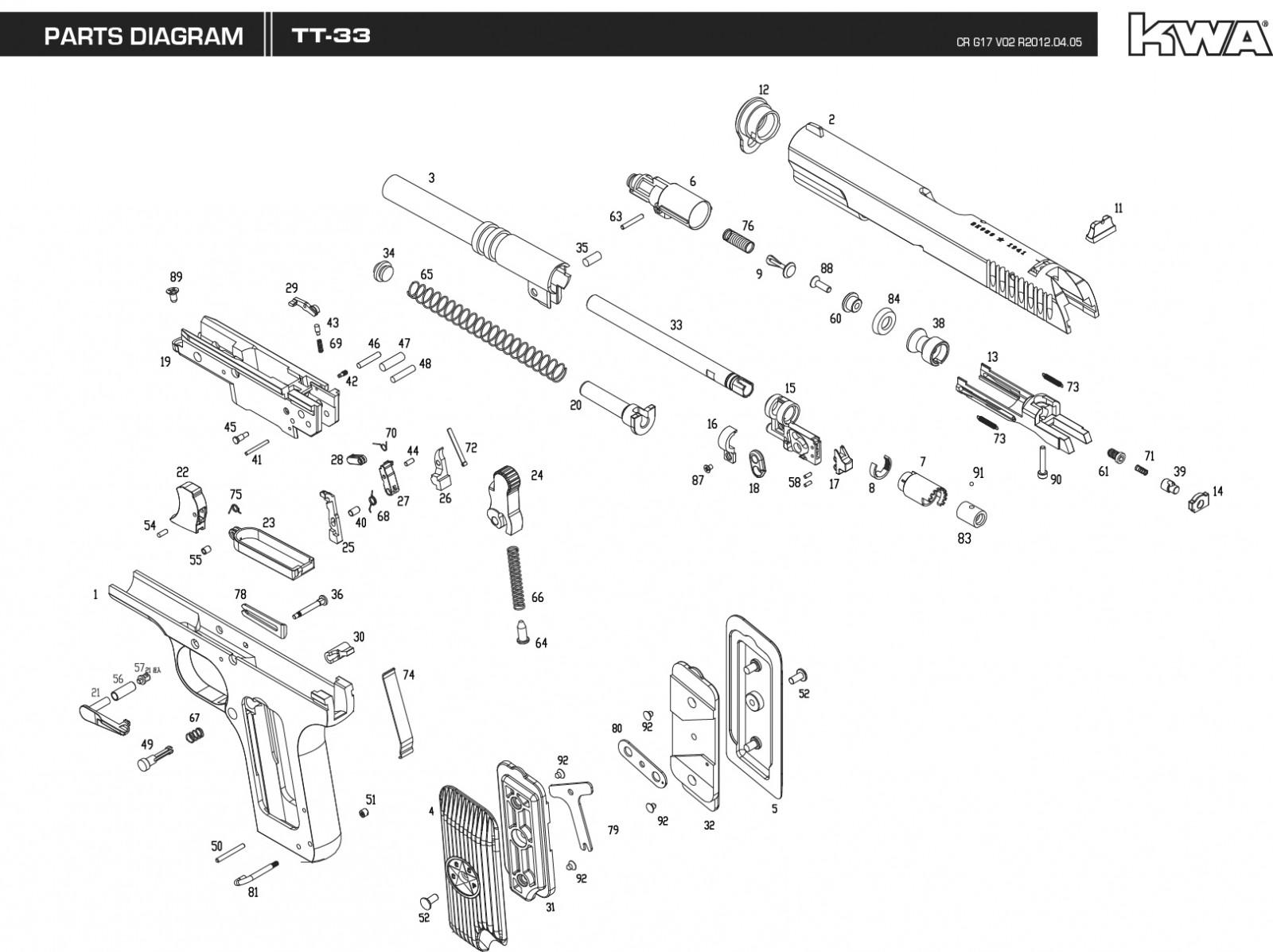 Exploded Diagram Kwa Tt33 Tokarev Ksc Part Original Worldwide Shipping