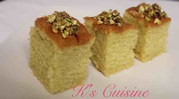 Semolina cake topped with crushed pistachio