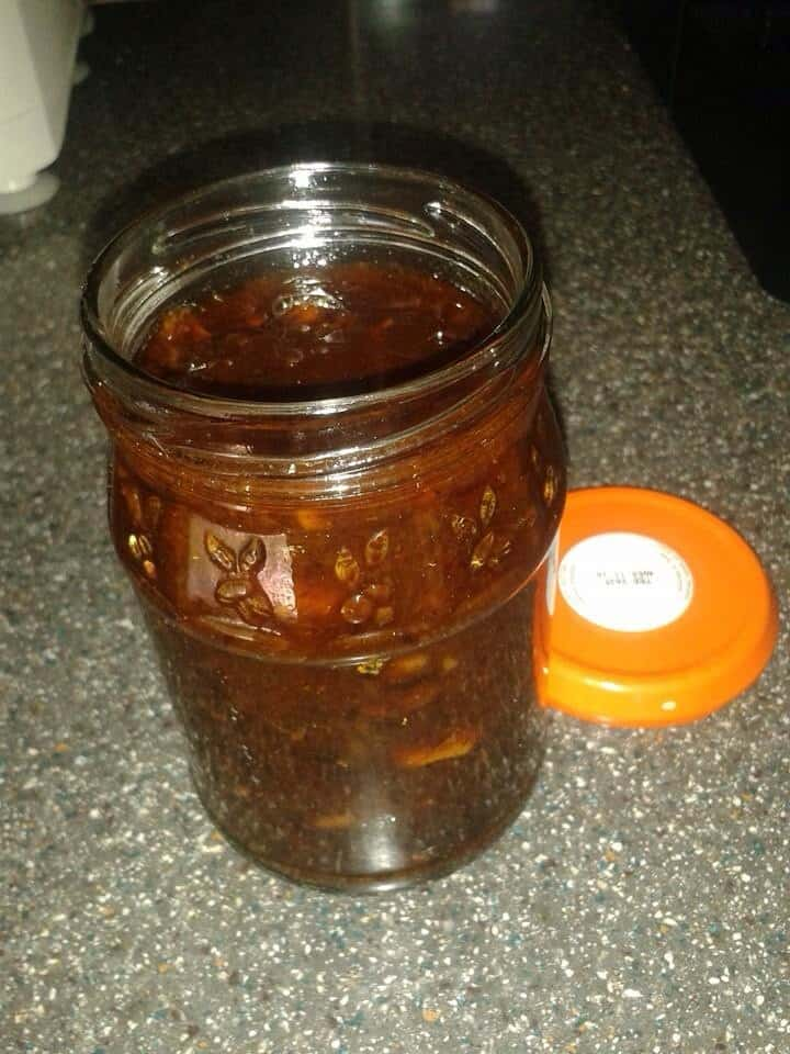Shito pepper inside jar