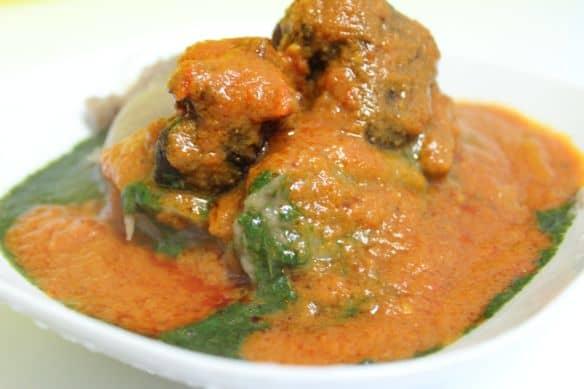 Ewedu, stew and amala