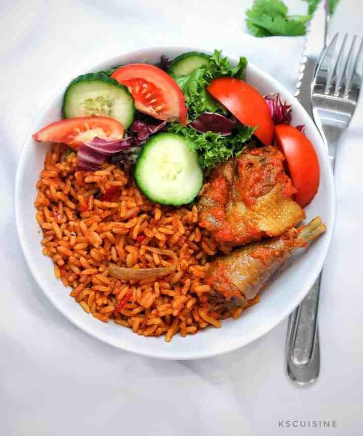 Jollof rice. Nigerian jollof rice
