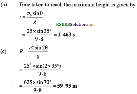 1st PUC Physics Question Bank Chapter 4 Motion in a Plane - 47