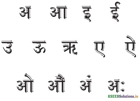 KSEEB Solutions for Class 6 Hindi वल्लरी Chapter 2 वर्णमाला 1