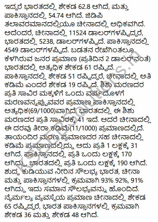 1st PUC Economics Question Bank Chapter 10 Comparative Development Experience of India with its Neighbours in Kannada 10