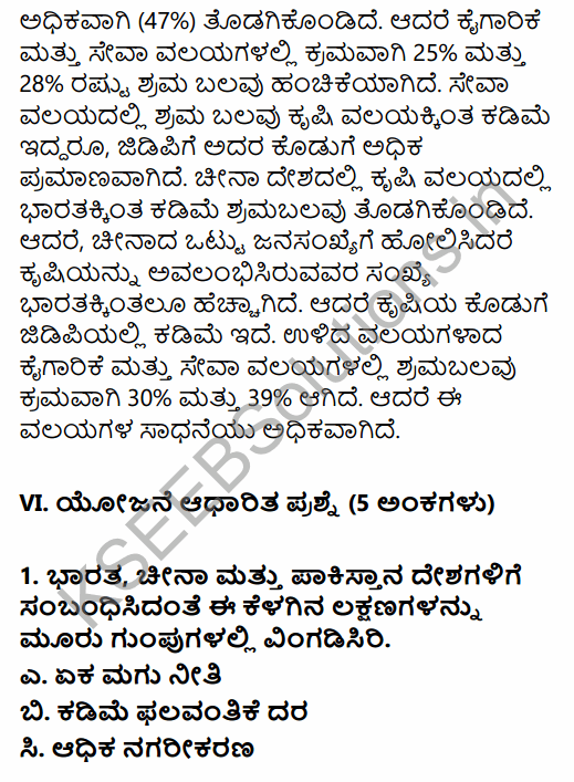 1st PUC Economics Question Bank Chapter 10 Comparative Development Experience of India with its Neighbours in Kannada 21