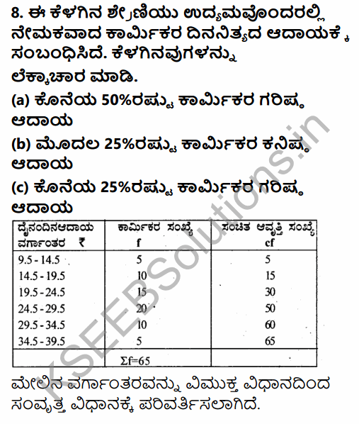1st PUC Economics Question Bank Chapter 5 Measures of Central Tendency in Kannada 9