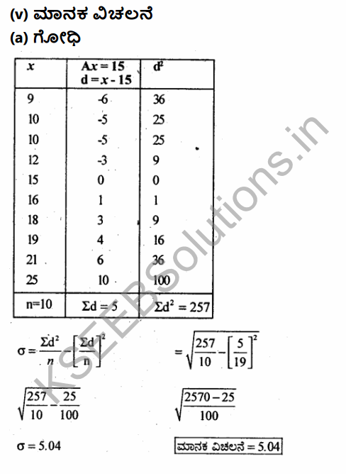 1st PUC Economics Question Bank Chapter 6 Measures of Dispersion in Kannada 10
