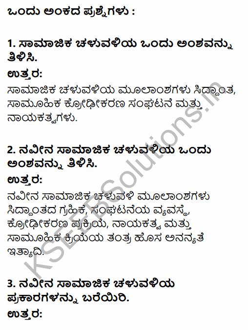 2nd PUC Sociology Question Bank Chapter 7 Social Movements in Kannada 1