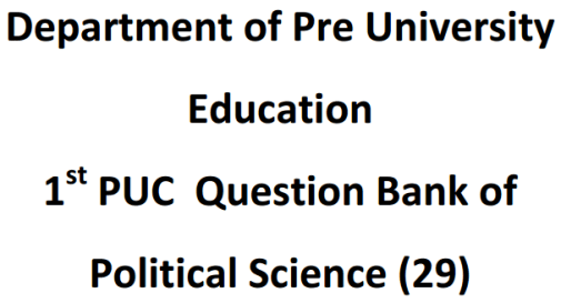 Karnataka 1st PUC Political Science Question Bank with Answers