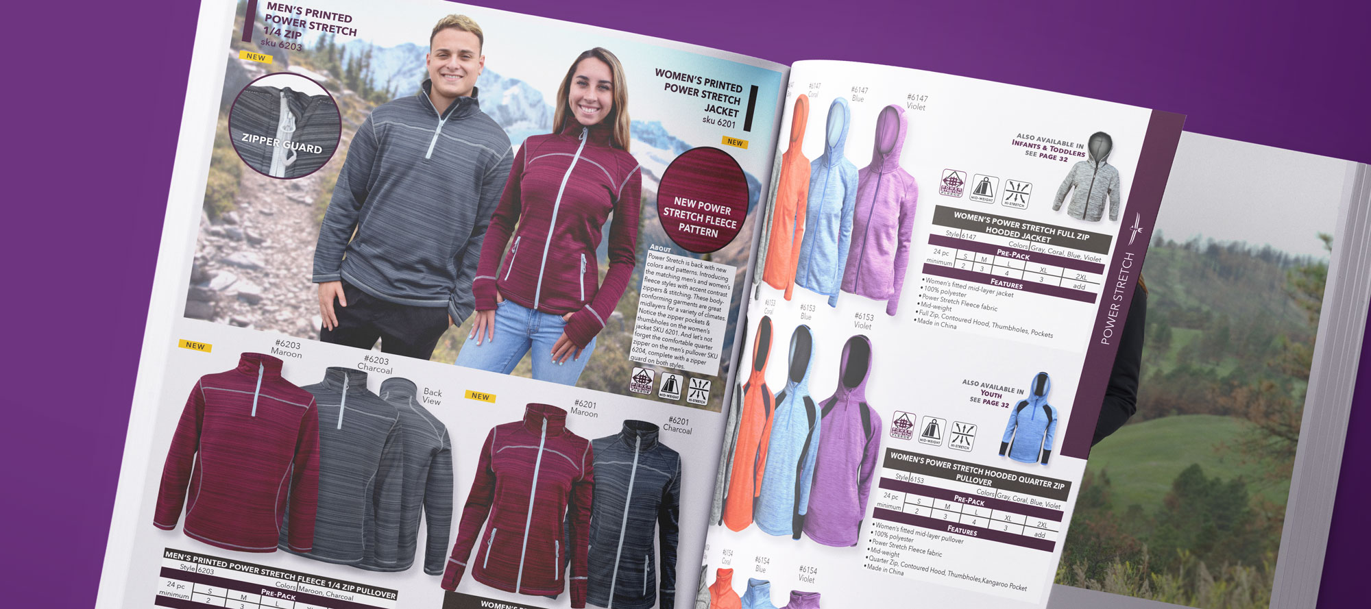 renegade club catalog page spread models, woman man wearing gray maroon red jacket, coarse weave fleece, wholesale jackets, zippers, zipper guard, new power stretch fleece fabric