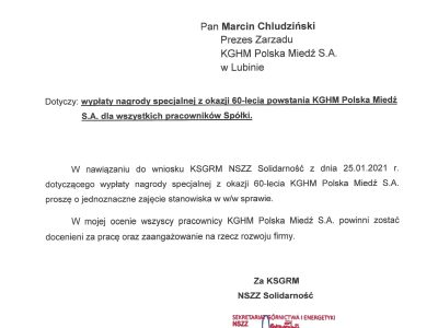 """KGHM: NSZZ """"Solidarność"""" pisze w sprawie nagrody na 60-lecie KGHM"""
