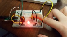 The LED successfully lights up when the switch is triggered