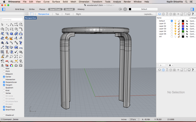 I also increased the radius of the top part of the stool and added a fillet