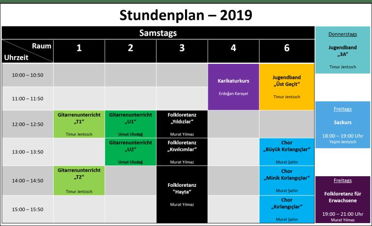 Stundenplan 2019