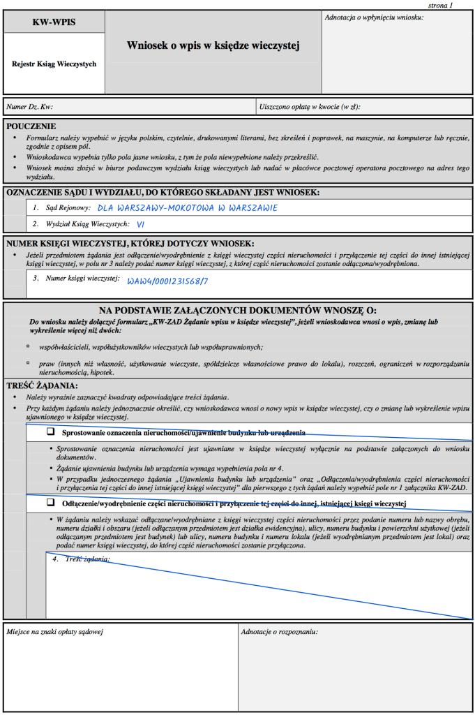 Strona 1 – Wniosek KW-WPIS o wykreślenie hipoteki z księgi wieczystej.