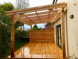 Macrocarpa deck&pergola with polycarbonate roof