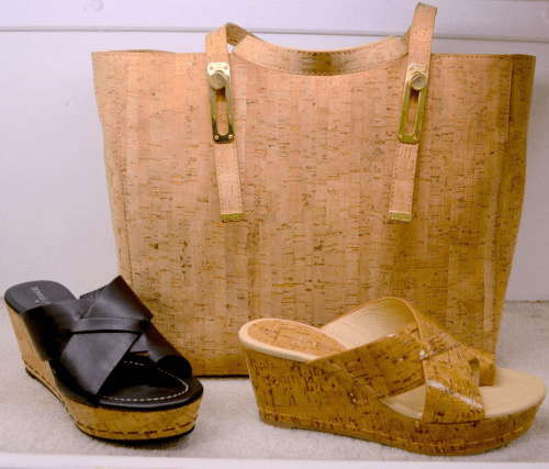 Pliner cork wedges and cork tote