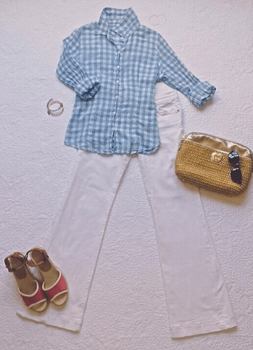 Laid back and cool for the summer in gingham and flares.