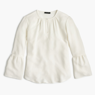 J Crew Silk Bell-Sleeve Top