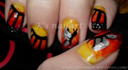 gradient butterfly nails