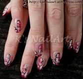French mani with one-stroke flowers