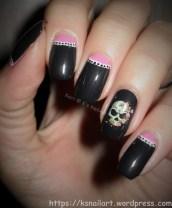 Half moons - not so Halloween nail art