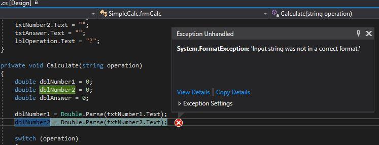 Error invalid input