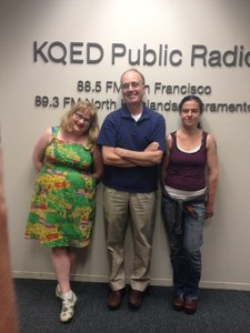 Karen Solomon with Friday Forum host Dave Iverson and Alex of Cultured Pickled Shop in Berkeley