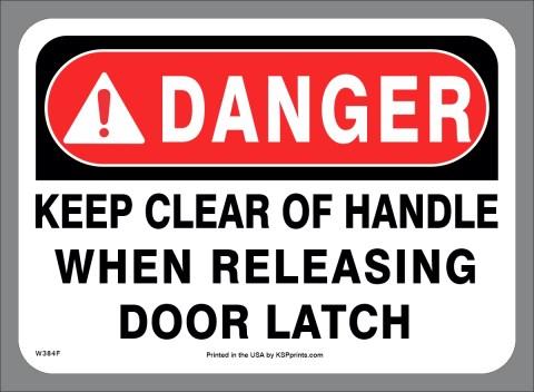 Clear of Door Latch Decal