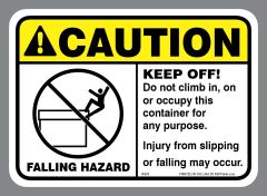 ANSI FALLING HAZARD waste sticker