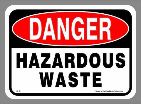 Adhesive-Backed DANGER HAZARDOUS WASTE labels