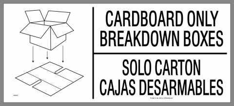 bilingual Cardboard Only Breakdown Boxes