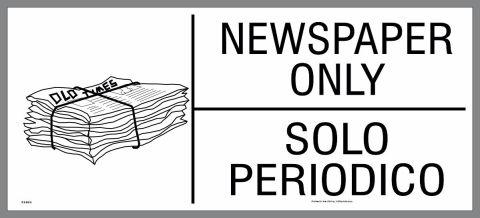 bilingual newspaper recycling sticker